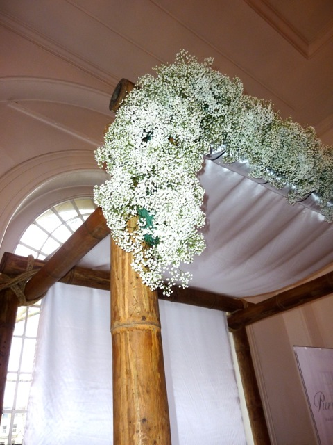 Side view of a bamboo wedding canopy