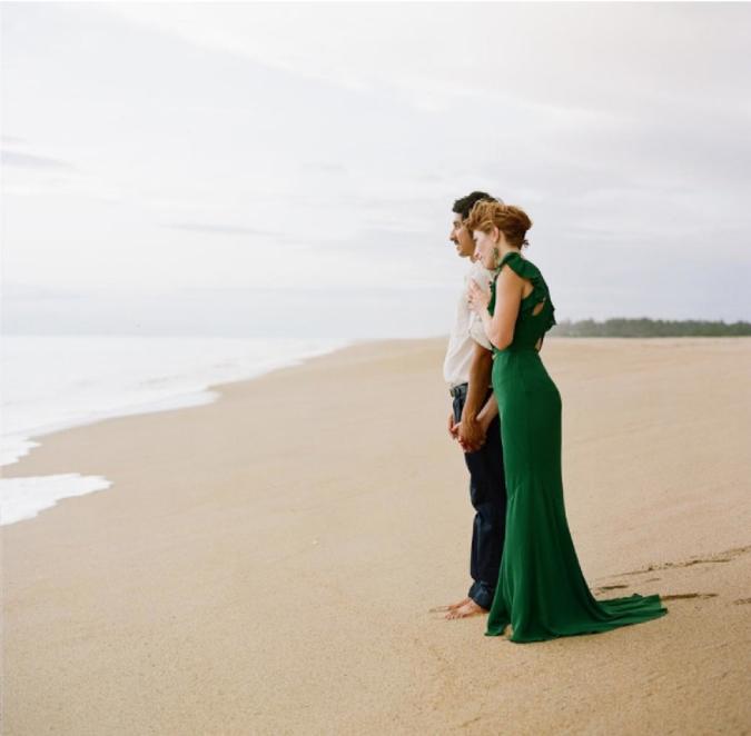 Emerald Green beach wedding dress