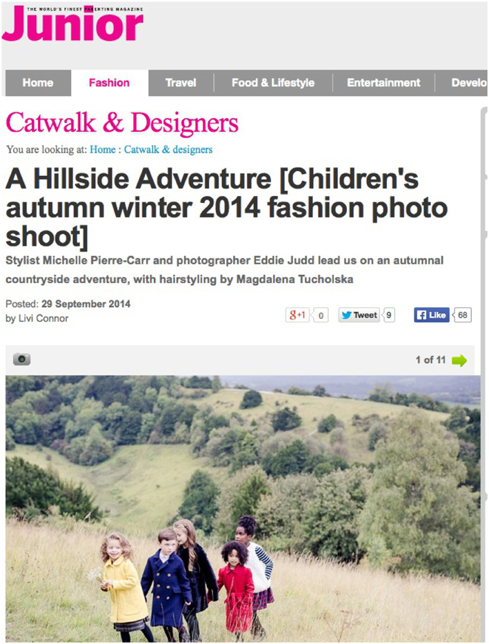 Published/Press: Featured in Junior Magazine