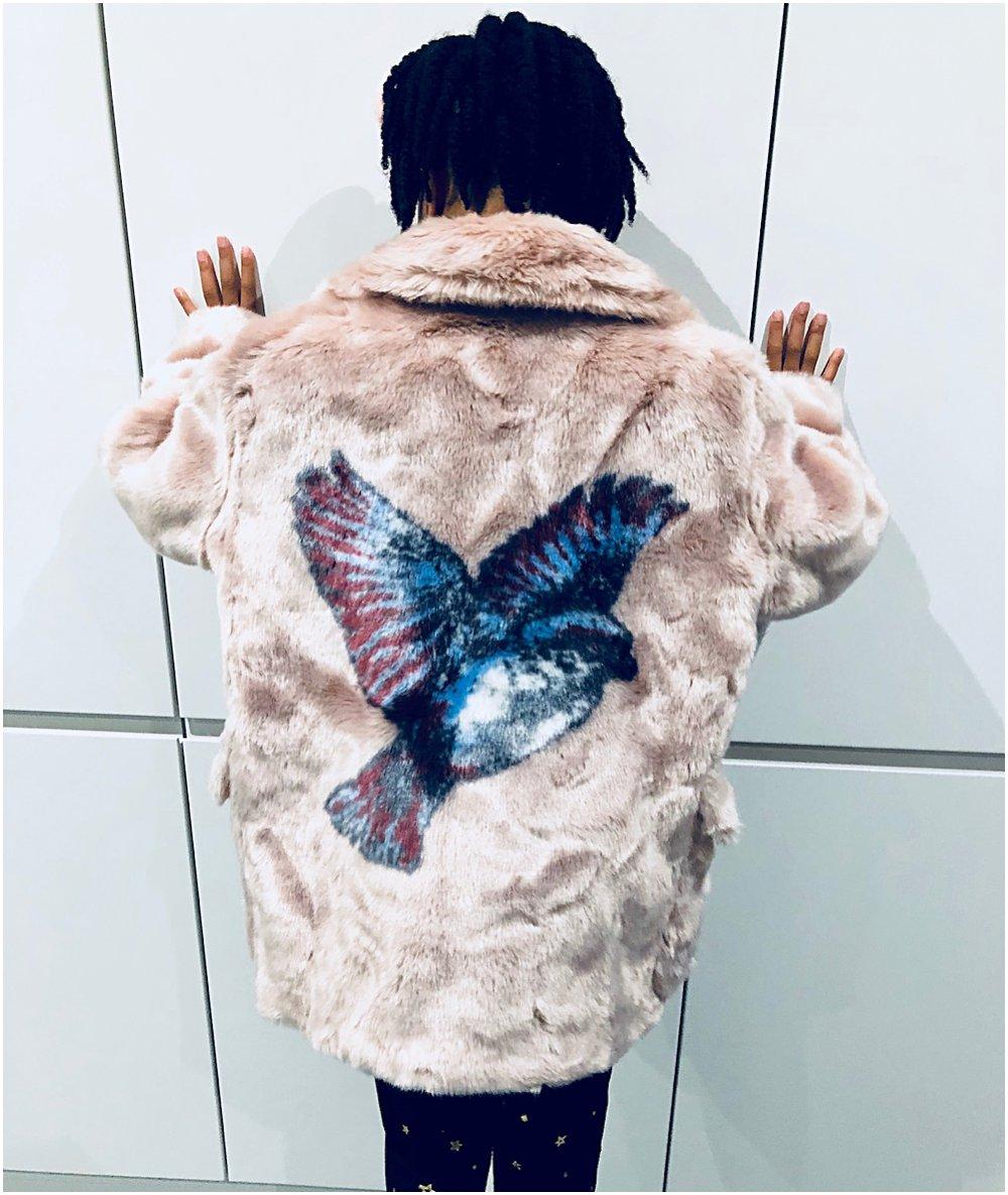 Little black girl in a faux fur pink coat with bird motif