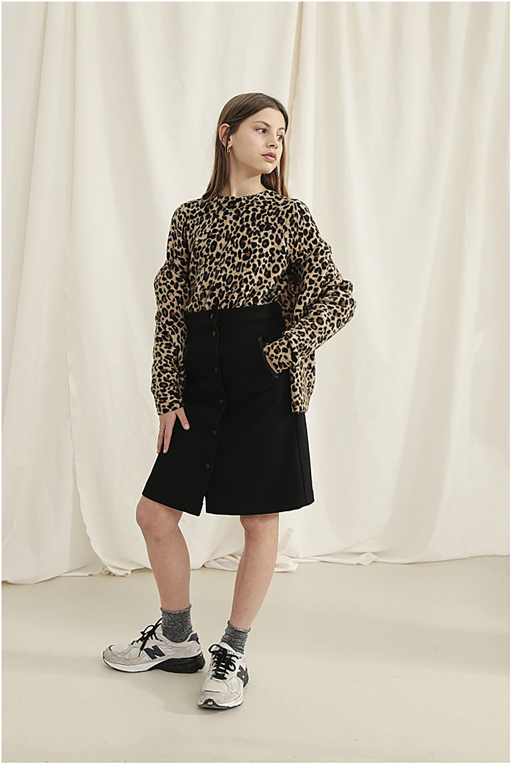 Young girl wearing a Leopard print jumper a fashion staple for the AW18 season