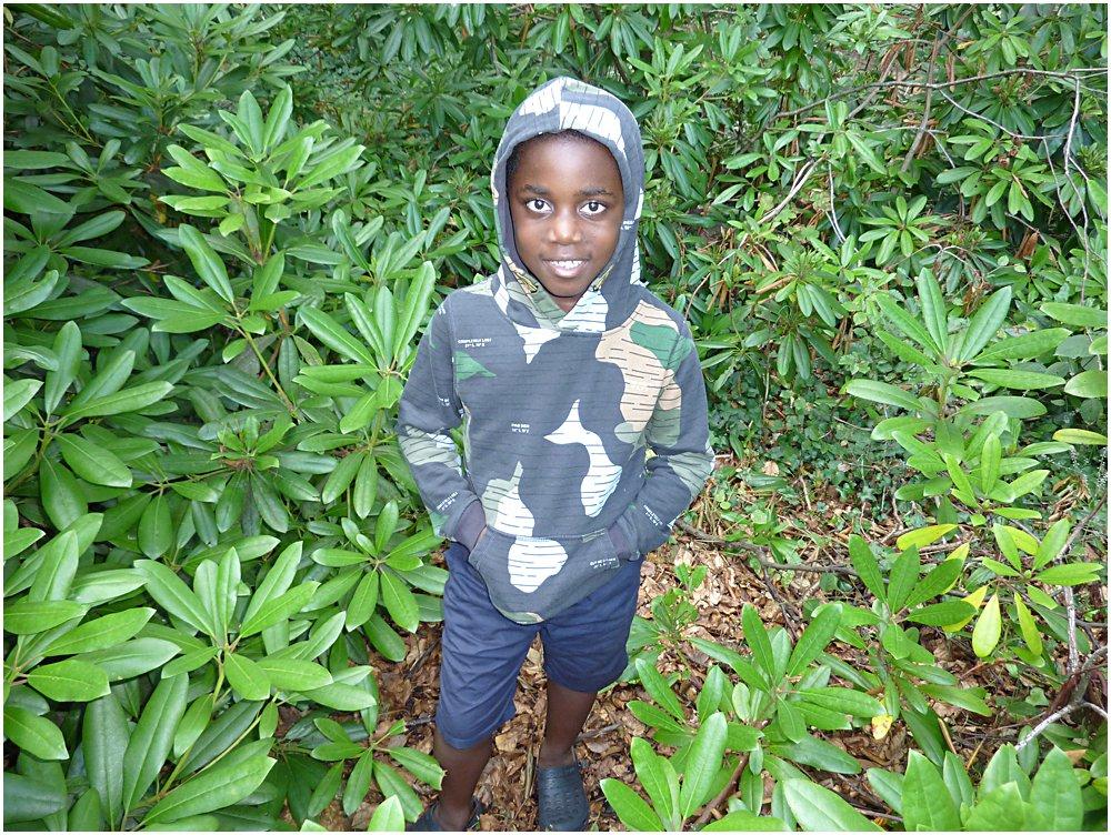 A little boy wearing a camouflage hoodie in a garden setting.