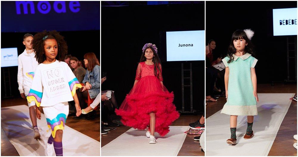 Three girl models on the runway at Mini Mode, London's Premier kids show wearing Hugland, Junona and BEBEBEBE