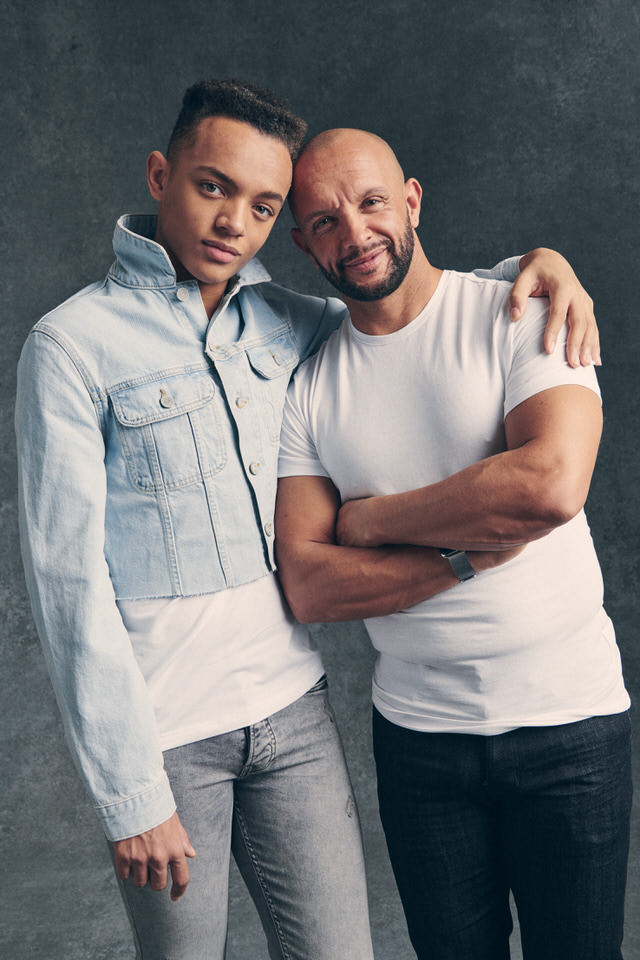 Styled by Pierre Carr dresses British Olympian Jamie Baulch and his son Morgan for the In my Genes shoot with photographer Paul Thorburn
