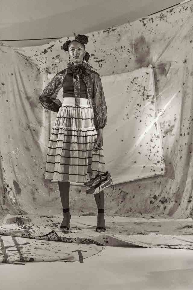 Styled by Pierre Carr dresses athlete Finette Agyepong for Superhumans shoot with photographer Ross Bolger