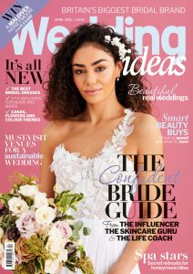 The April cover of Wedding Ideas styled by Pierre Carr and features model Maya Patrick
