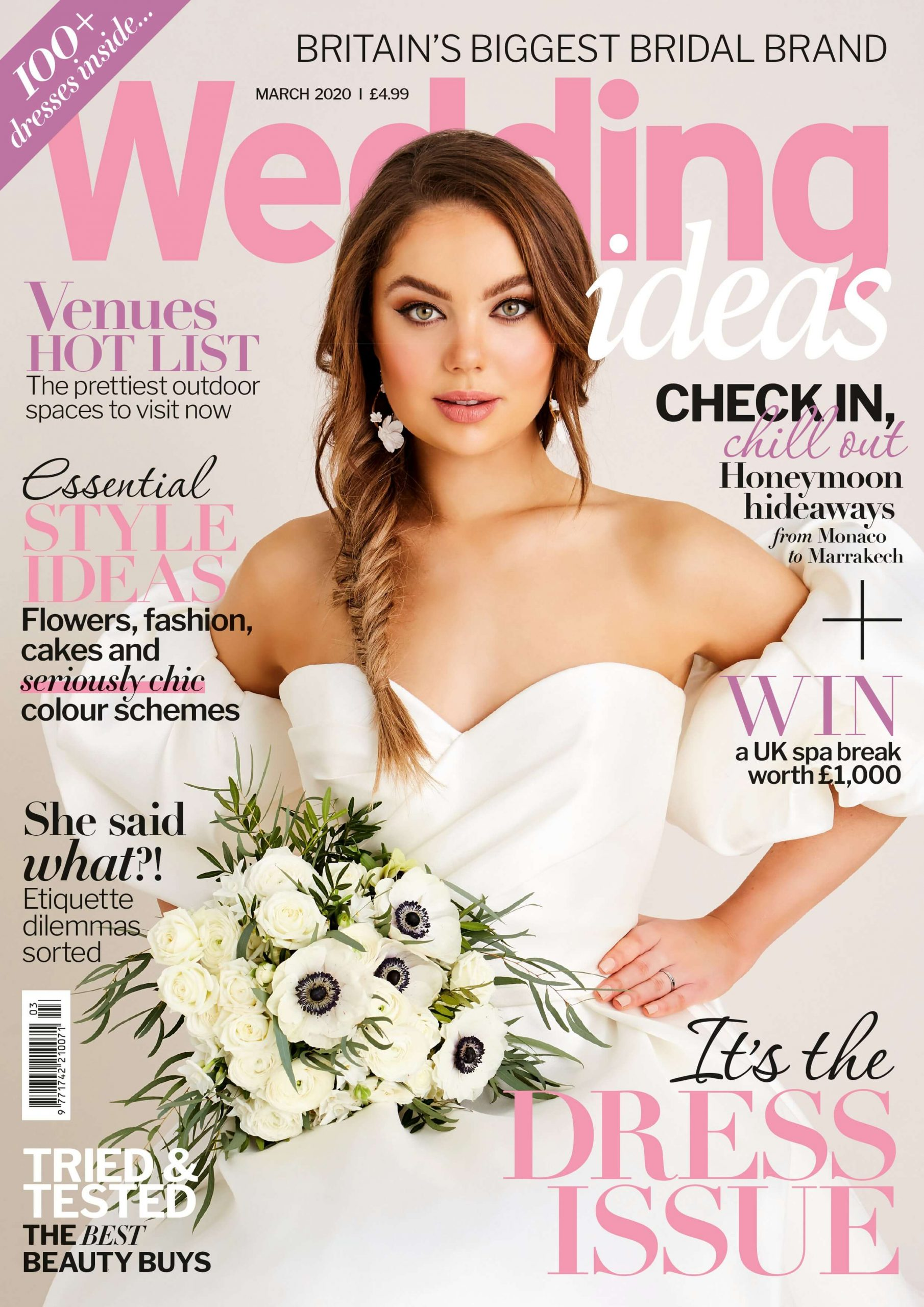 The March cover of Wedding Ideas styled by Pierre Carr and features model April Goldsby